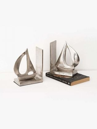 Silver Boat Bookends