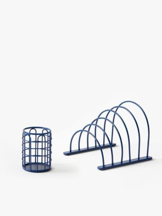 Metal Wireframe Desk Organizer - Blue