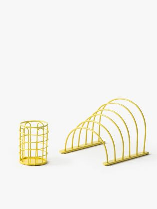 Metal Wireframe Desk Organizer - Yellow