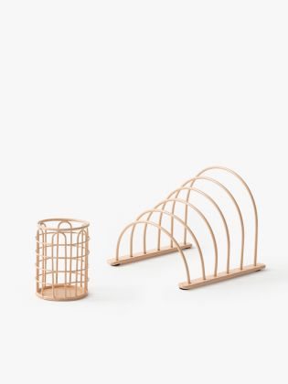 Metal Wireframe Desk Organizer - Pink