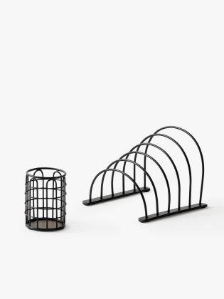 Metal Wireframe Desk Organizer - Midnight Black