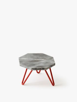 Grey Marble Hexagon Cake Stand - Red