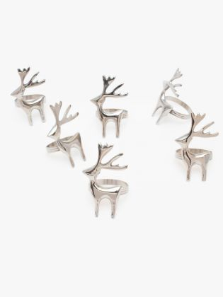 Sliver Deer Napkin Rings - Set of 6