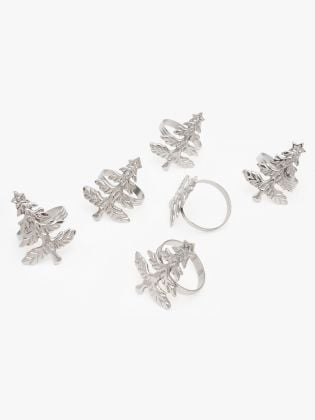 Silver Tree Napkin Rings - Set of 6
