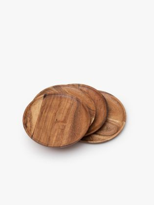Snack Trencher Wooden Tray - Set of 4