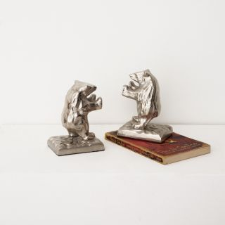 Bear Blow Aluminum Bookends