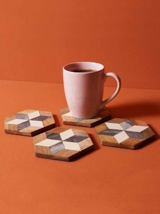 Black and White Marquetry Coasters