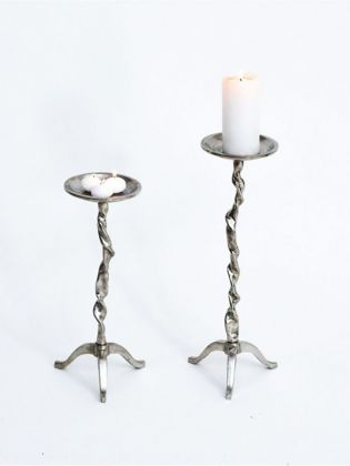 Aluminium Candle Stand-Set of 2