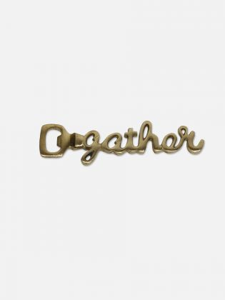 GATHER Script Bronze Bottle Opener