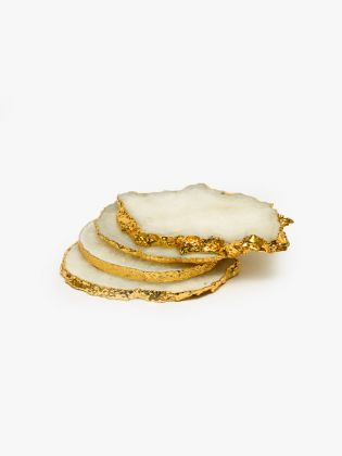 Gold Foiled Agate Marble Coasters