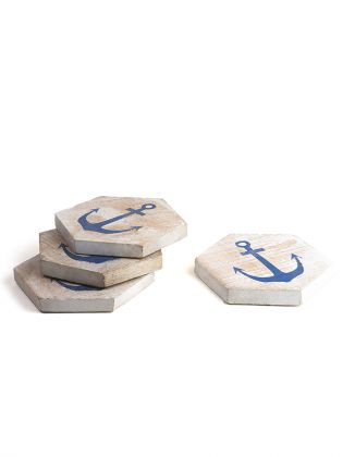 Blue Anchor Wooden Coasters