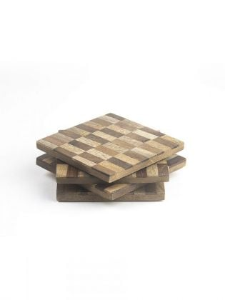 Brick Bond Wooden Coasters