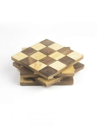 Brown Square Block Coasters