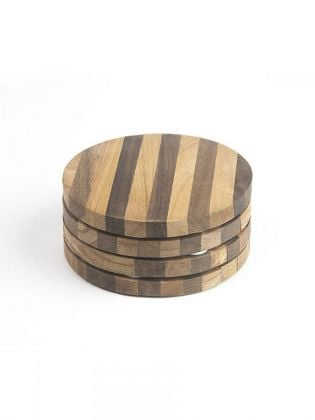 Brown Striped Round Coasters