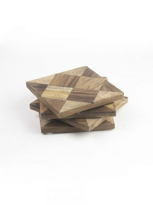 Checkerboard Wooden Coasters