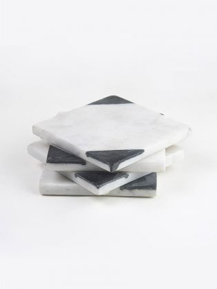 Dual-Black Edge Marble Coasters