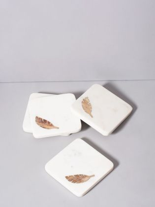 Favour Feather Marble Coasters