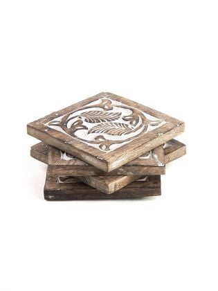 Handcarved White Leaves Wooden Coasters