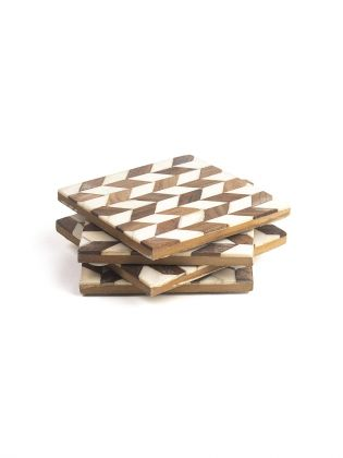 Hardwood Geometric Coasters