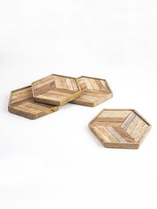 Hexagon Wooden Frame Coasters