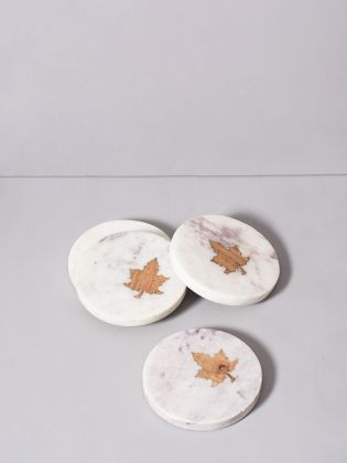Maple Glory Marble Coasters
