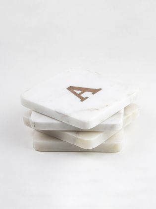Marble Coasters with Alphabet Inlays