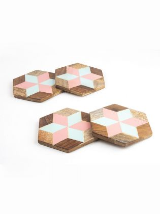 Pastel Pop Wooden Coasters