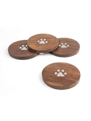 Paw Print Wooden Coasters