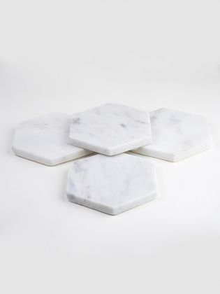 Pearl White Hexagon coasters