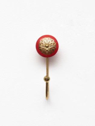 Red Ceramic Ornate Wall Hooks