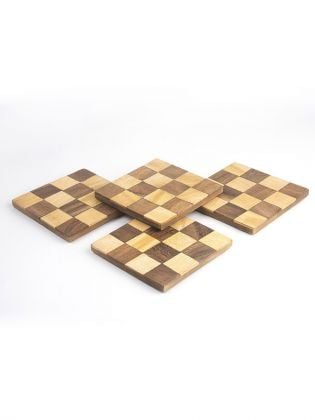 Retro Square-Check Coasters