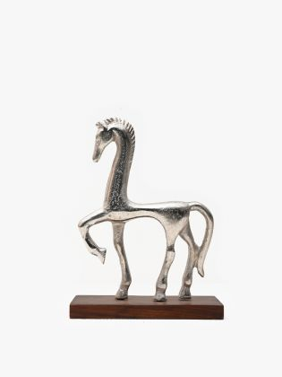 Silver Striding Pony Sculpture