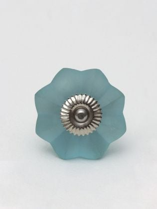 Skyblue Flower Glass Knob-Set of 6