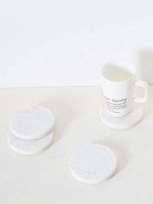 Snowy Charm Marble Coasters