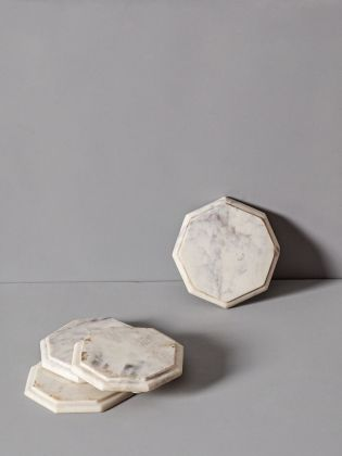 Trevor White Marble Coasters