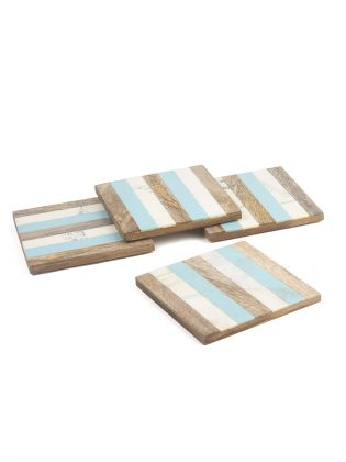 White and Blue Striped Coasters