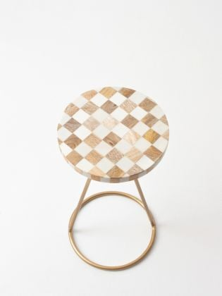 White Checkerboard Filament Stand - Golden