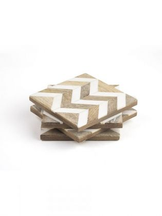 White Chevron Stripe Wooden Coasters