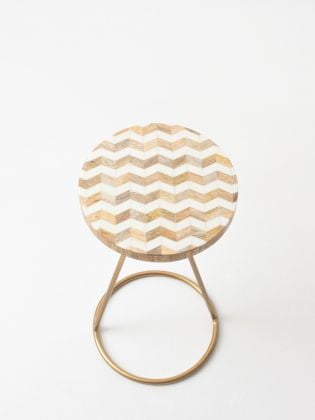 White Herringbone Filament Stand - Golden