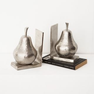 Pear Unique Bookends-SILVER