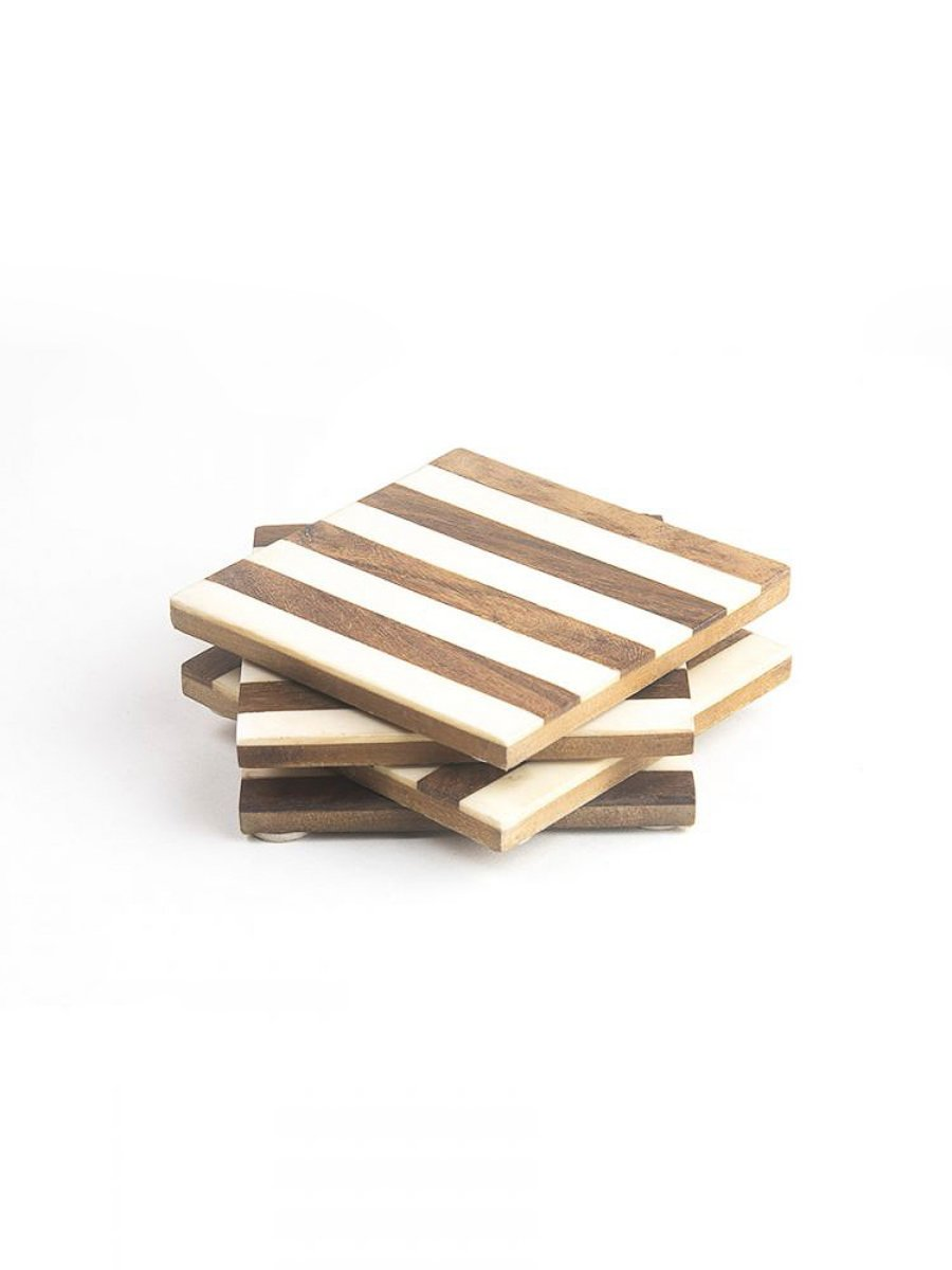 White Stripes Wooden Coasters